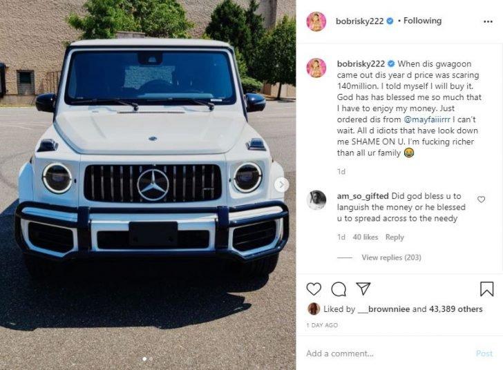 Bobrisky Acquires New Brabus G63 Worth ₦140 Million To His Fleet Of Cars Bob-1-10