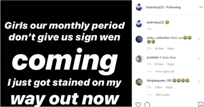 """""""Girls Our Monthly Period Does Not Give Us Sign When It Is Coming"""" – Bobrisky Seeks Advice Bob17"""