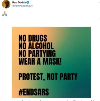 Protest Not Party – Falz Tells #ENDSARS Protesters Derailing From Objective Of The Protest Bop-da10