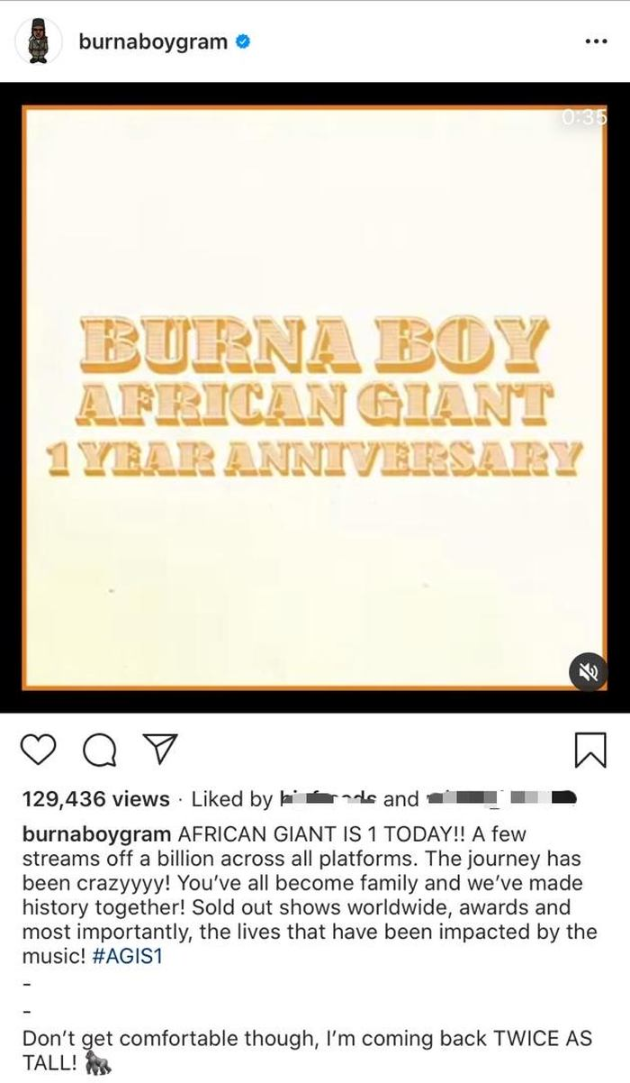 """Burna Boy Celebrates 1 Year Anniversary Of """"African Giant"""" With Over 800 Million Streams Burna117"""
