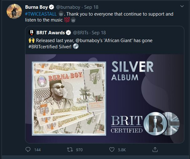 Burna Boy's 'African Giant' Becomes The 1st Certified Nigerian Album In The UK Burna123