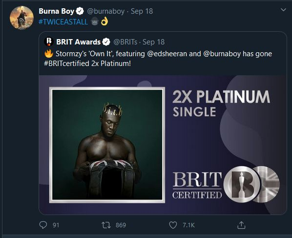 Burna Boy's 'African Giant' Becomes The 1st Certified Nigerian Album In The UK Burna124