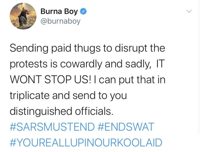 """It's Cowardly & Sadly"" – Here's What Burna Boy Has To Say About Officials Sponsoring 'Thugs' To Disrupt Protest Burna135"