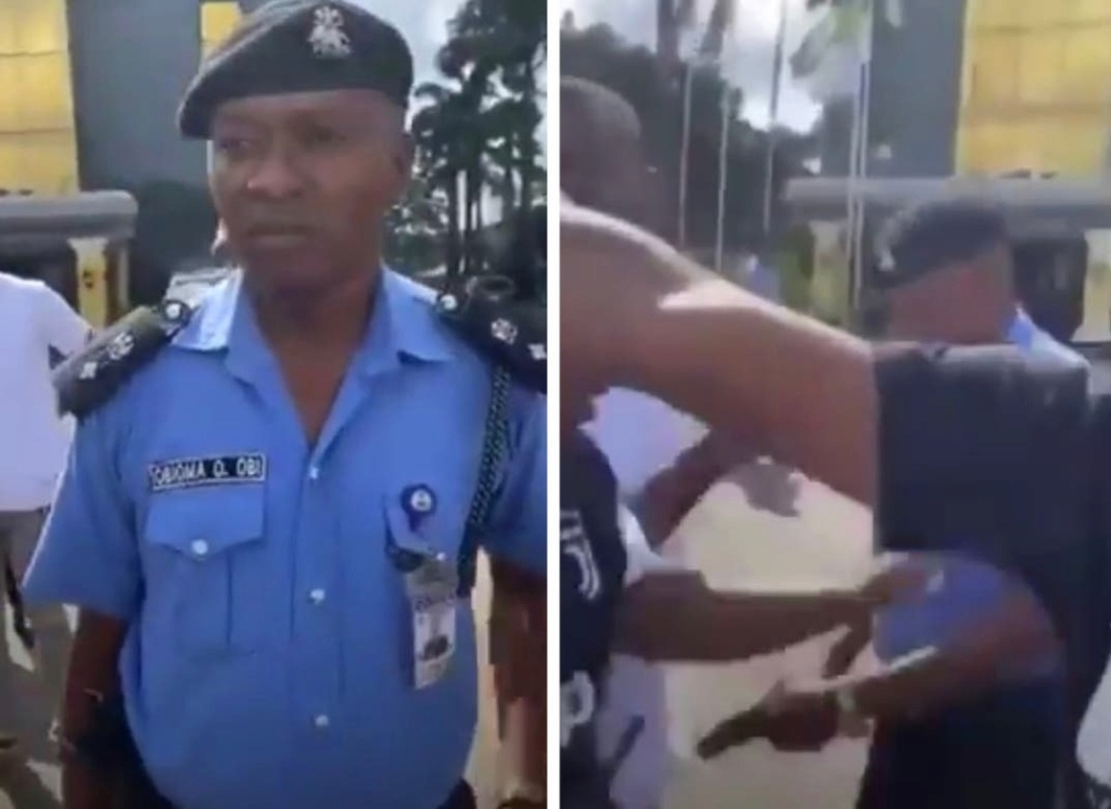 Shocking Moment DPO Brought Out His Pistol To Shoot Protesters In Owerri, Imo State (Watch Video) C0564210