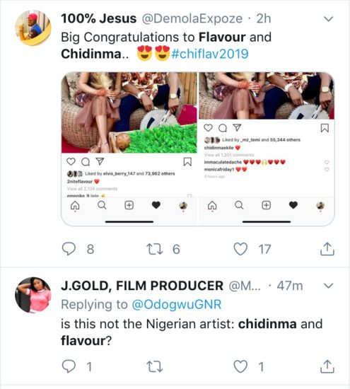 Nigerians Congratulate Flavour And Chidinma Over Their Rumored Marriage C0mmm10