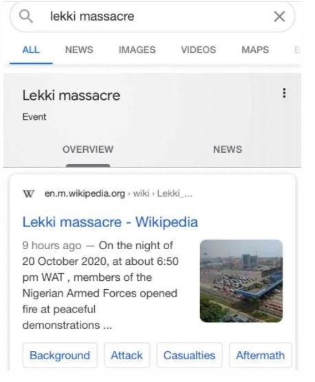 Lekki Massacre now on Wikipedia Captu160