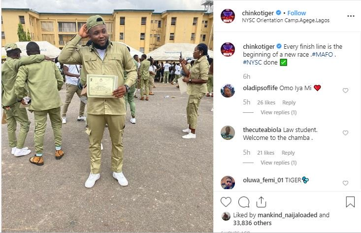 Rapper Chinko Ekun Completes His NYSC. Poses With His Discharged Certificate Captur42