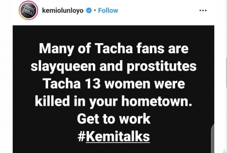 Tacha's Fans Are Prostitutes, Slay Queens — Kemi Olunloyo Captur57