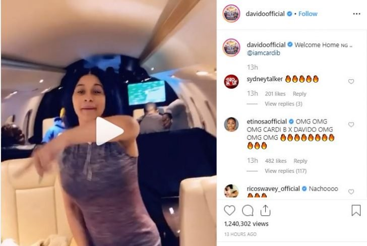 Davido Officially Welcomes Cardi B To Nigeria (Photo) Captur79