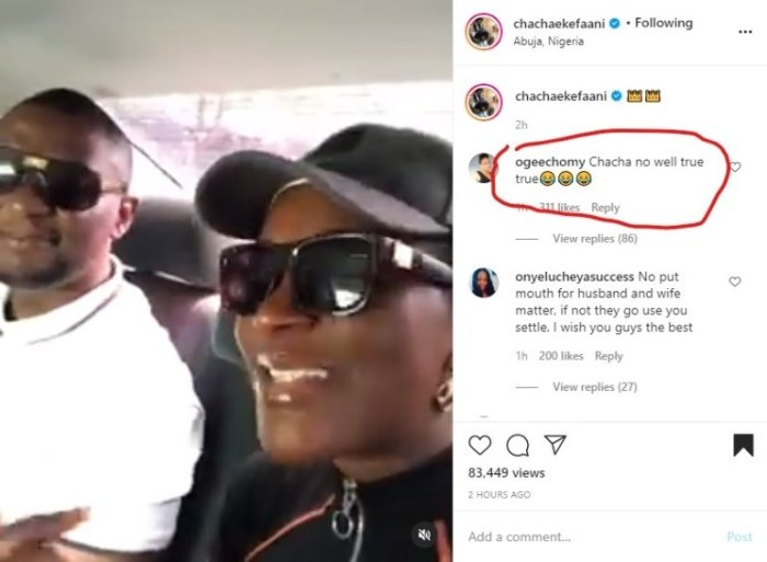 """""""True True, Chacha No Well""""- Fans React After Chacha Eke Faani Shares A Video Of Herself And Her Husband Kissing Chacha13"""