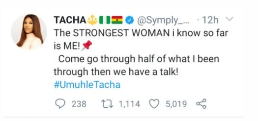 'The Strongest Woman I Know So Far Is Me', Tacha Says Ckvn-j10