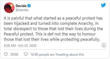 It's Painful That Peaceful Protest Turned Into Complete Anarchy – Davido Laments Da110
