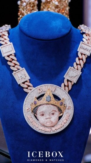 Davido Reveals The Face Of His Son, Ifeanyi On N150Million Customized Diamond Necklace Da12