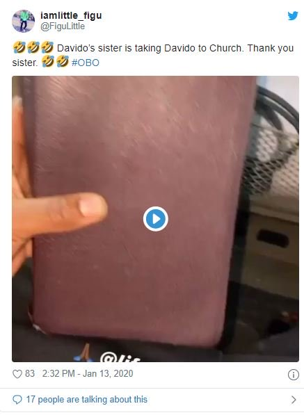 Fans Reacts As Davido's Sister Drags Him To Church (Funny Reactions) Dave-610