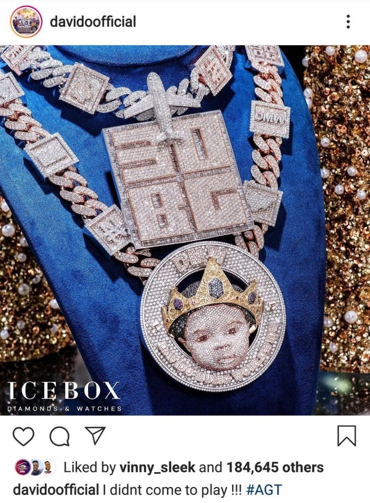 """I Didn't Come To Play""- Davido Says As He Flaunts N150Million Diamond Encrusted Necklace David194"
