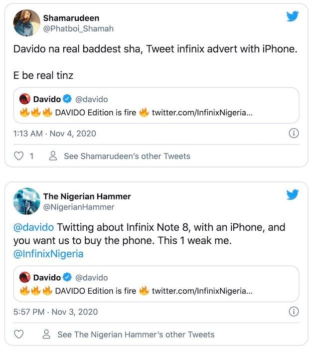 Davido - Angry Nigerians Drag Davido For Tweeting About His New Infinix Edition Phone With An iPhone David414