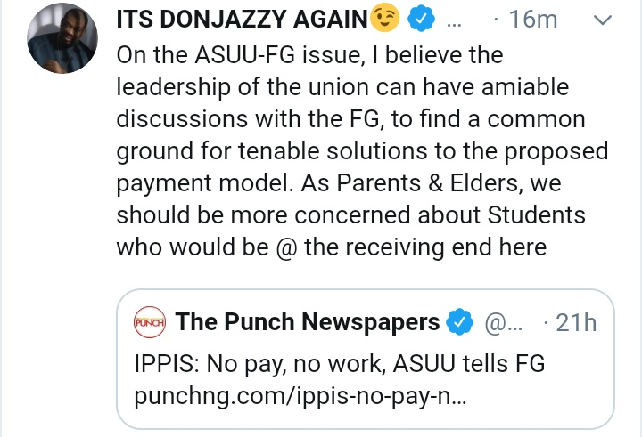 IPPIS: Don Jazzy Appeals To ASUU And FG Don_jp10