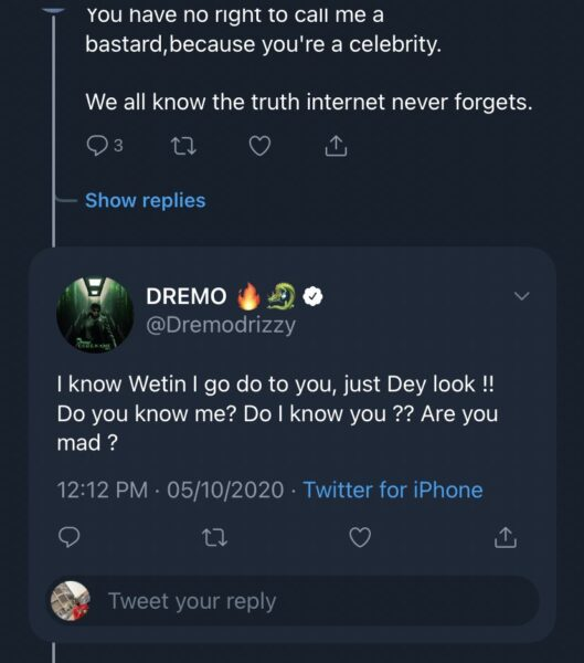 Dremo Threatens Twitter User Who Accused Him Of Domestic Violence (See Full Gist) Dre410