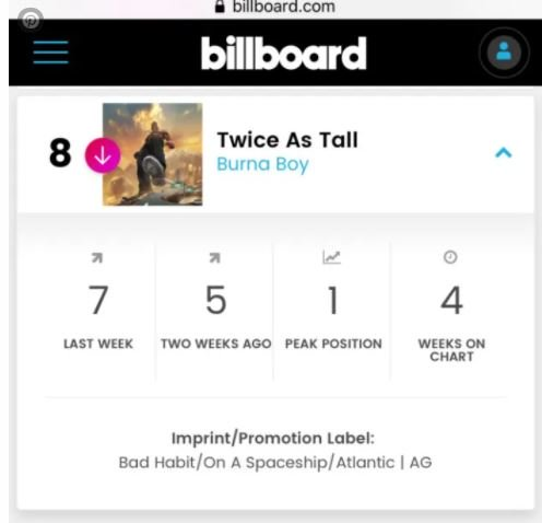 Burna Boy's 'Twice As Tall' Becomes First Nigerian Album To Stay On Billboard World Album Top 10 Chart For 4 Weeks Dvnjv11