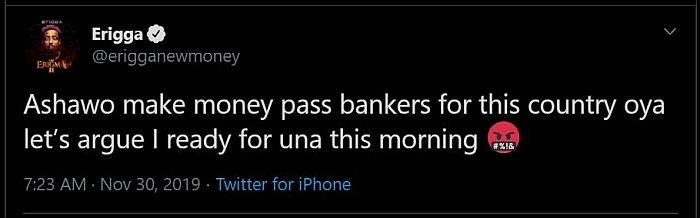 """""""Ashawo Makes More Money More Than Bankers In Nigeria"""" – Rapper Erigga Erigga19"""