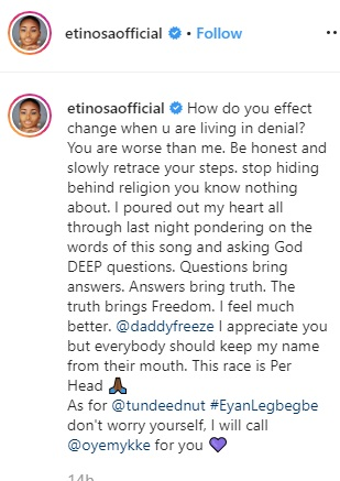 Keep my name from your mouth – Etinosa warns Tunde Ednut Etinos17