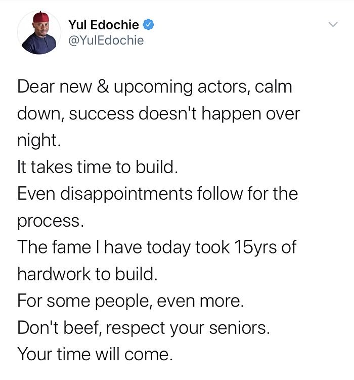 """""""Success Doesn't Happen Overnight"""" – Yul Edochie Tells Upcoming Artists F0f88310"""