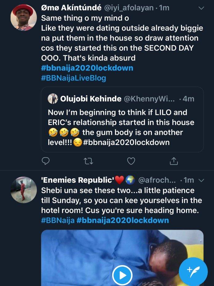 2020 BBNaija: Twitter Users React As BBNaija Housemates, Lilo, Eric Make Out In Bed Again F82cf810