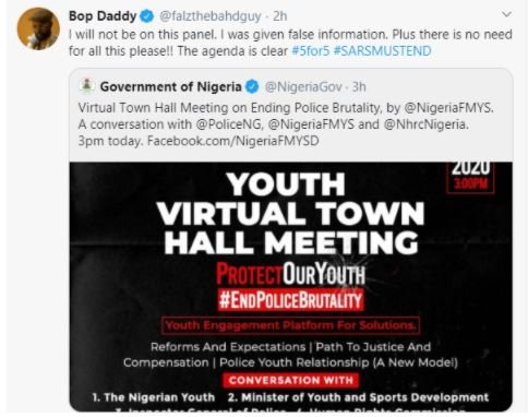 I Was Given False Information – Falz Says As He Turns Down FG's Youth Virtual Meeting On Police Brutality Falz-116