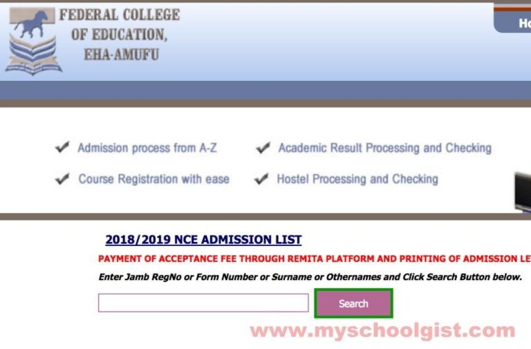 2018/2019 Federal College of Education, Eha-Amufu (FCEAHAAMUFU) NCE 1st & 2nd Batch Admission Lists  Fce-eh10