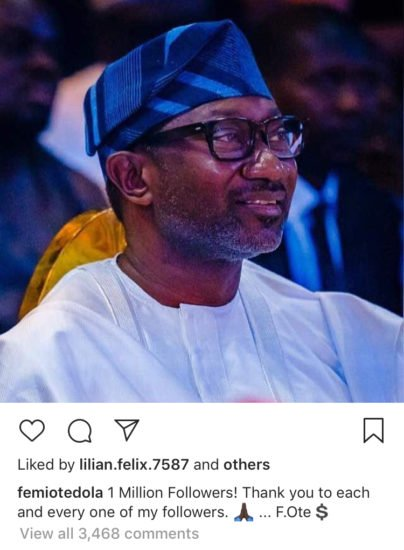 DJ Cuppy's Dad, Femi Otedola Celebrates A Million Followers On Instagram Femi210