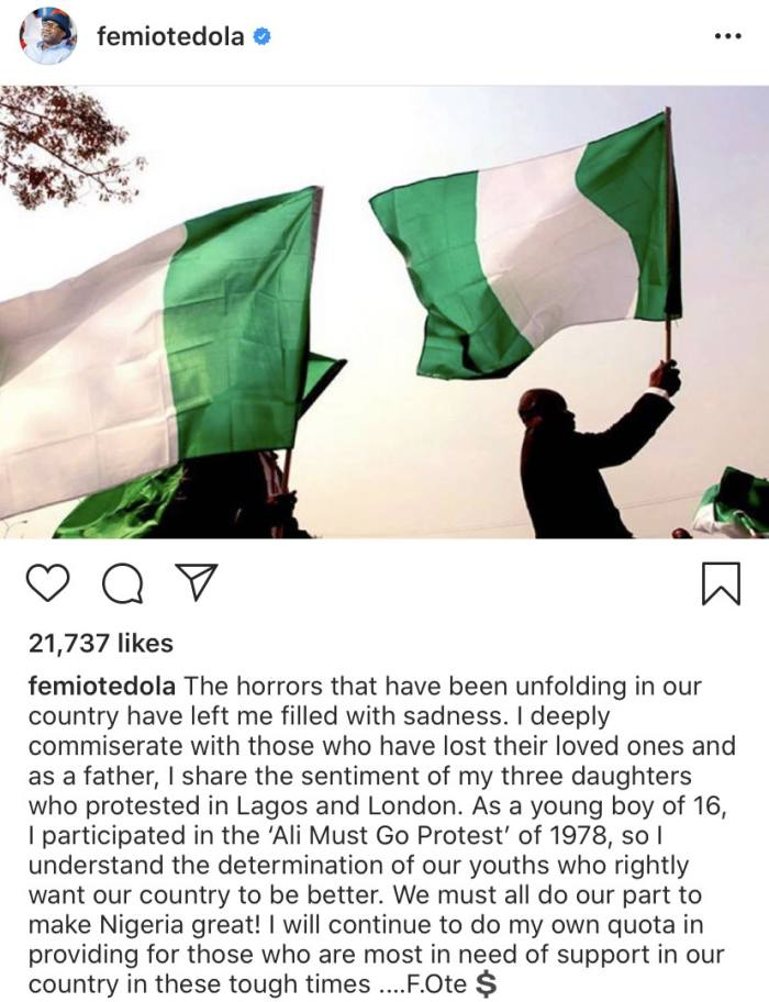 Billionaire Femi Otedola Sympathizes With Families Of Protestors Who Lost Their Lives As He Reacts To The EndSARS Protest Femiot10