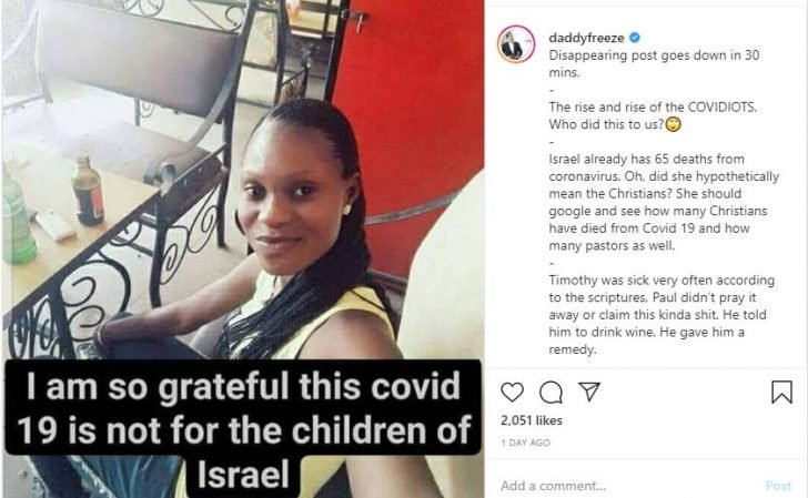 Daddy Freeze Reacts To Nigerian Woman Who Thinks COVID 19 Does Not Affect Children Of Isreal Fjdhdn10