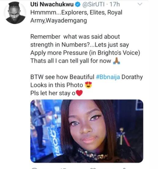 2020 BBNaija: 'Please Let Dorathy Stay', Uti Nwachukwu Begs Nigerians Flv10