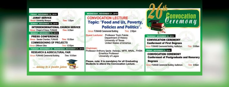 Federal University of Agriculture, Abeokuta (FUNAAB) 26th Convocation Ceremony Programme of Events Funaab10