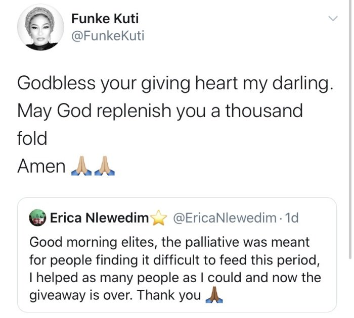 Femi Kuti's Wife, Funke Blesses BBNaija Star Erica For Feeding Her Fans (Photo) Funke-38