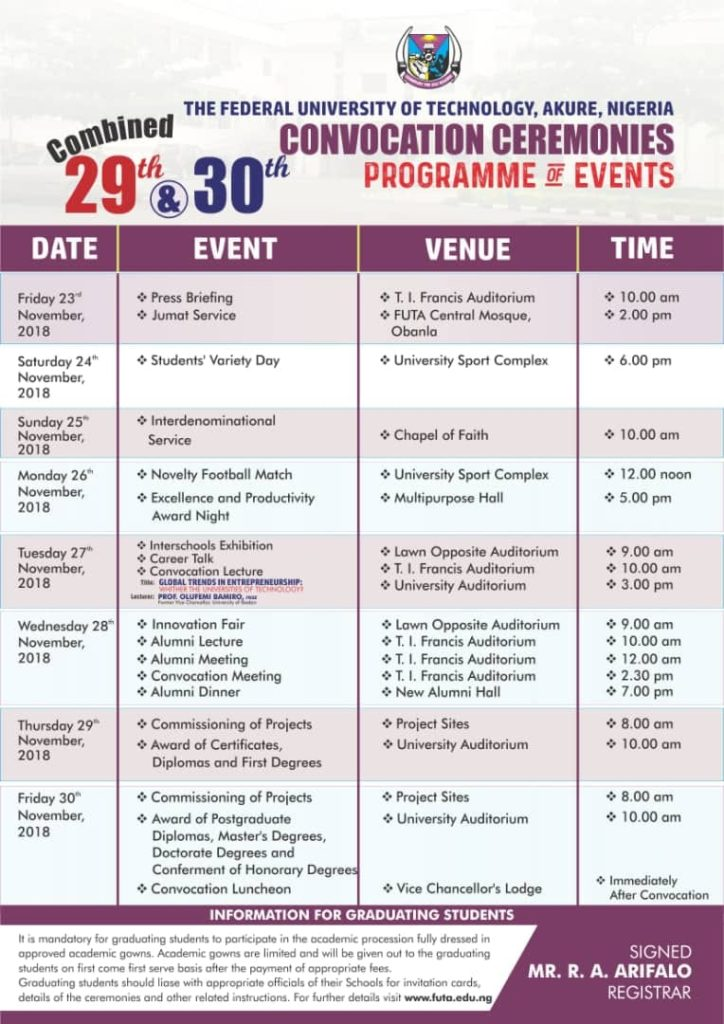 Federal University of Technology, Akure (FUTA) Combined 29th & 30th Convocation Ceremonies Programme of Events Futa-c10