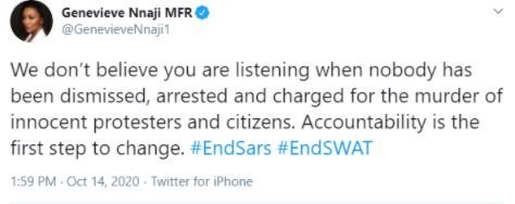 #EndSARS: Nobody Has Been Arrested And Charged For The Murder Of Innocent Protesters- Genevieve Nnaji Genevi31
