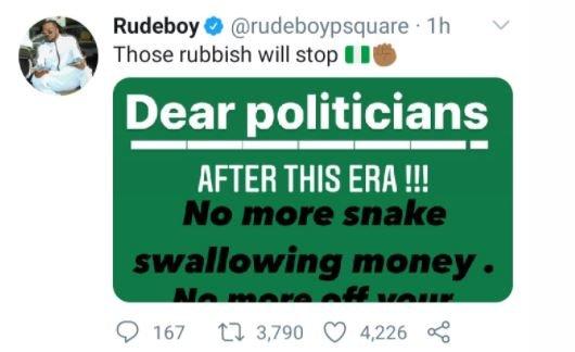 Singer, Rudeboy Sends Message To Nigerian Politicians Gmg10