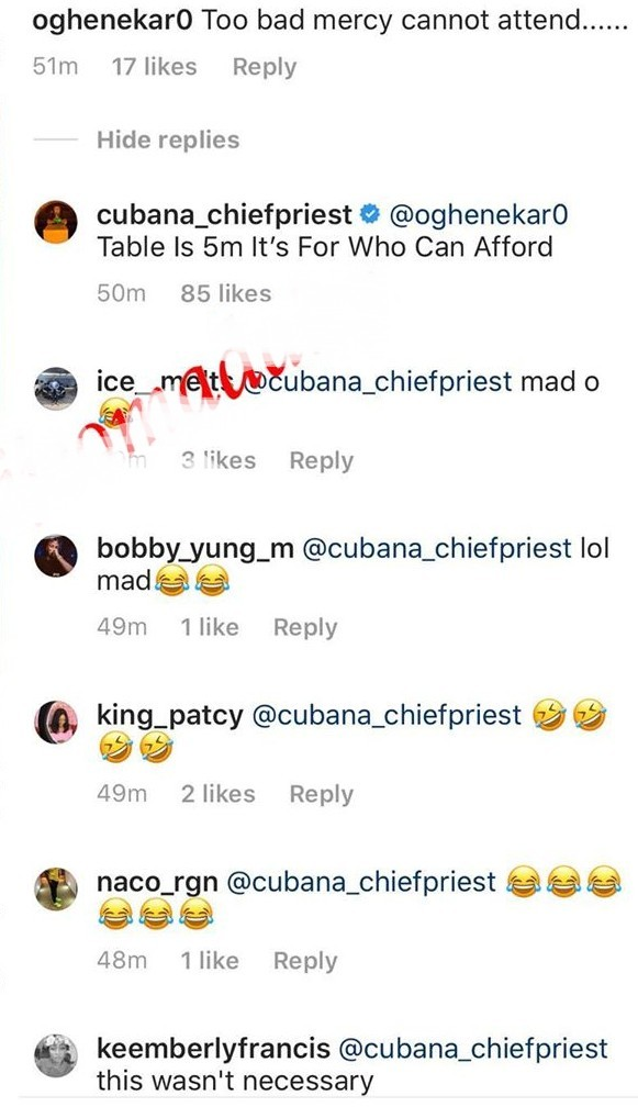 Cubana Chiefpriest shades Mercy, says she can't afford N5m for a table at his event Img_2107