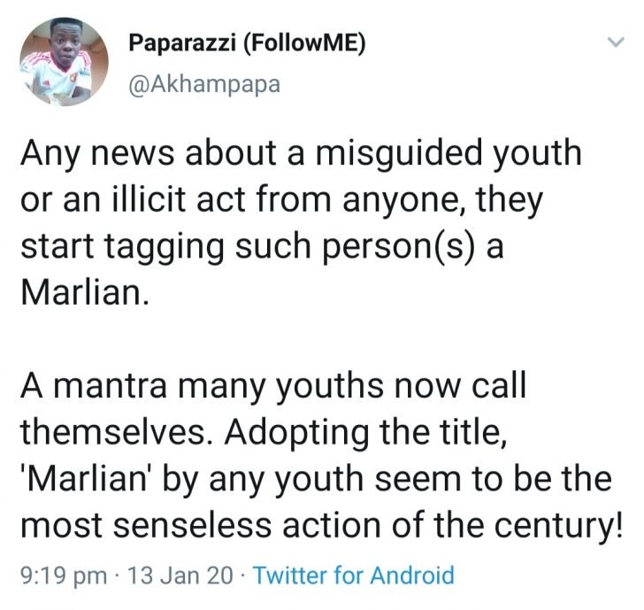 "Nigerian Youths Calling Themselves ""Marlians"" Are Senseless Twitter User Says (Read This) Img_2158"