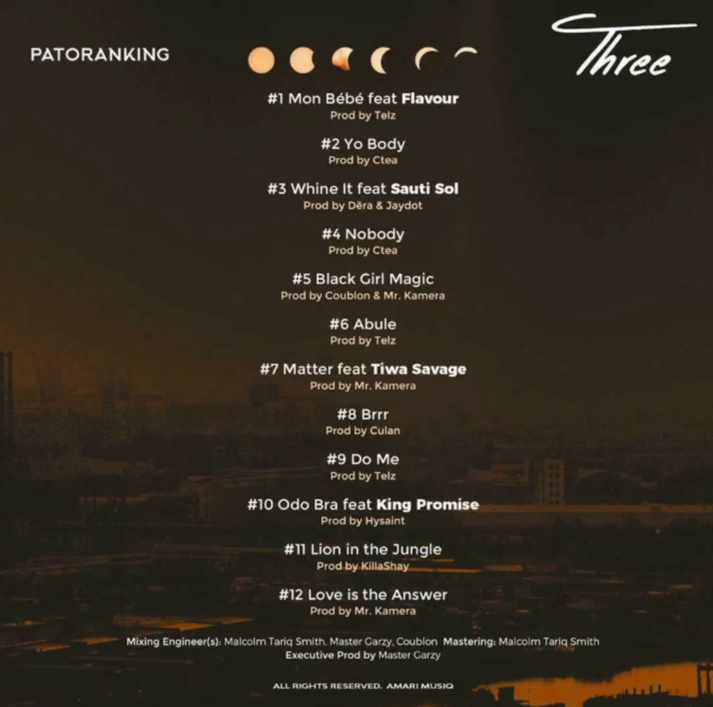"DOWNLOAD NOW » ""Three Album by Patoranking"" Full Album Is Out Insho480"