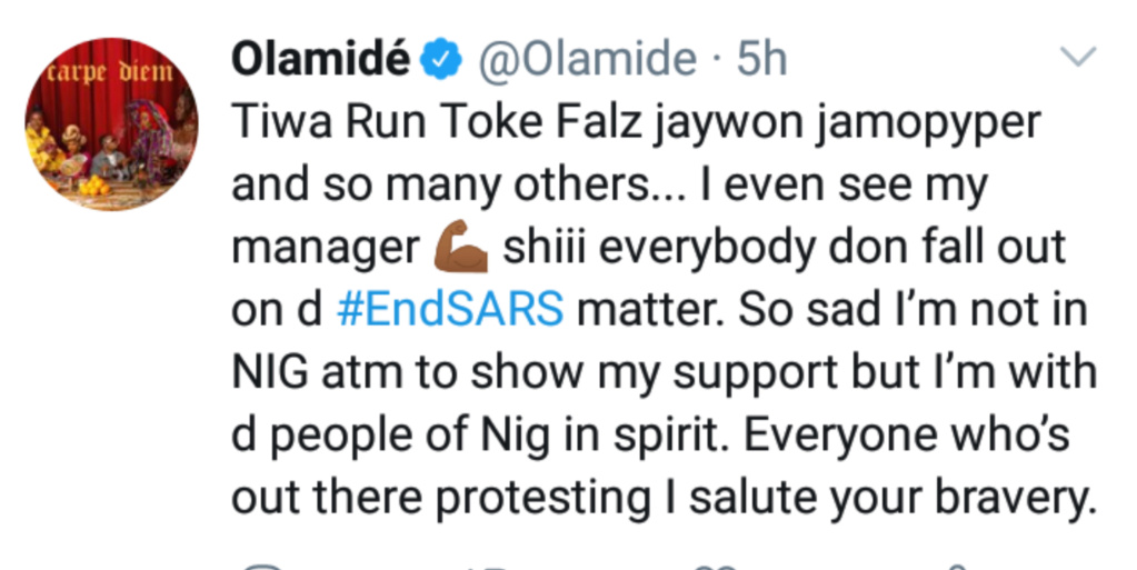 Olamide Reveals Why He Can't Be Part Of The #EndSARS Protests On The Streets Of Lagos Insho609