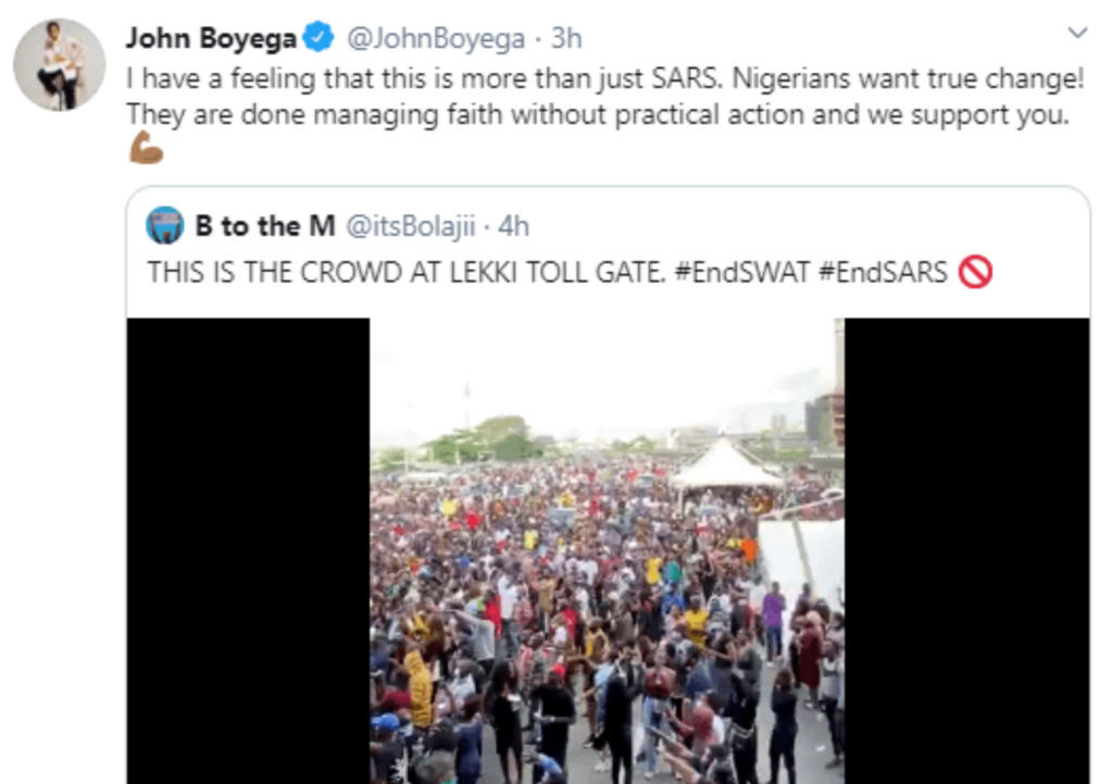 #EndSARS: Nigerians want true change -John Boyega Insho634