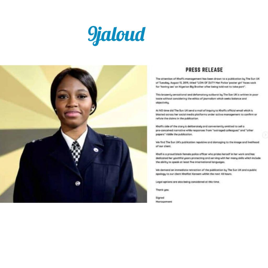 BBNaija2019: Khafi's management speaks on her alleged sack by UK Police Inshot52