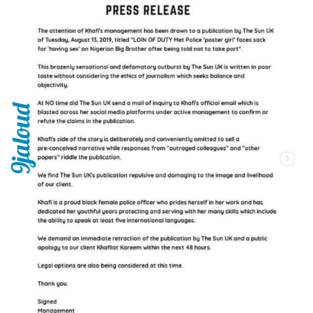 BBNaija2019: Khafi's management speaks on her alleged sack by UK Police Inshot53