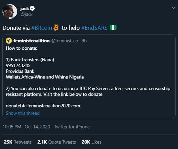 Twitter CEO, Jack Dorsey Shows Support To #ENDSARS Protest (See What He Did) Jack11
