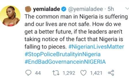 #EndSARS: 'The Common Man In Nigeria Is Suffering' – Singer Yemi Alade Jbjd10