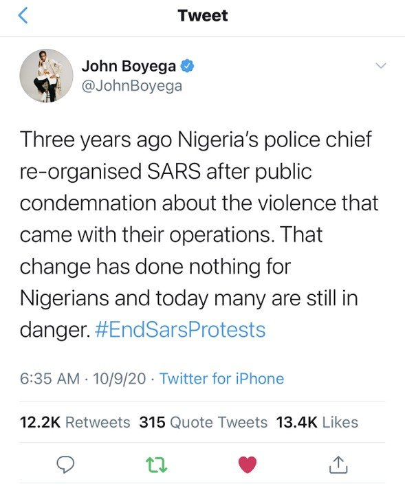 John Boyega Tweets About EndSARS Protest John-b12