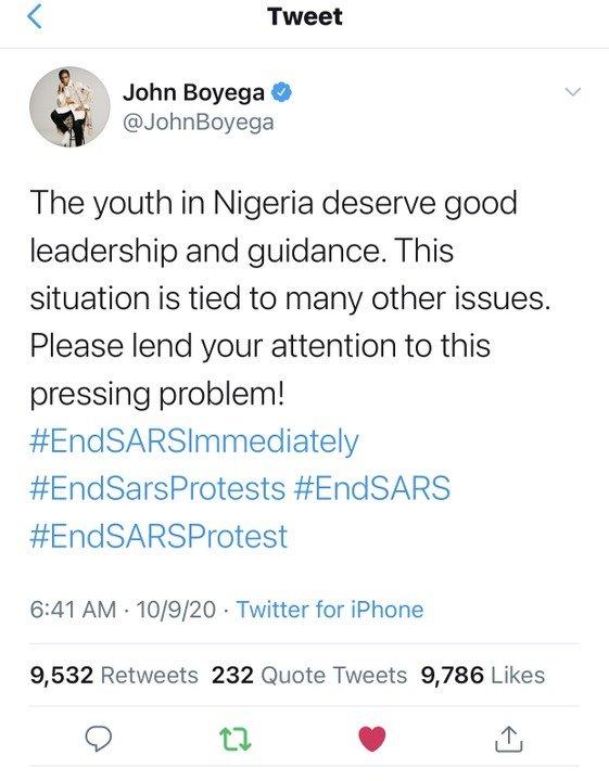 John Boyega Tweets About EndSARS Protest John-b13