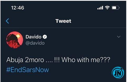 #ENDSARs: Davido set to lead  protest in Abuja Justna47
